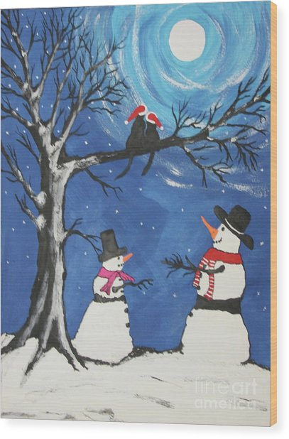 Christmas Cats In Love Wood Print