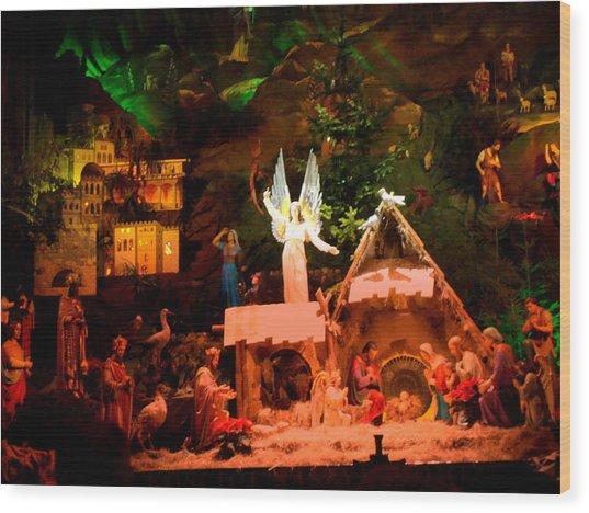 Christmas Crib Wood Print