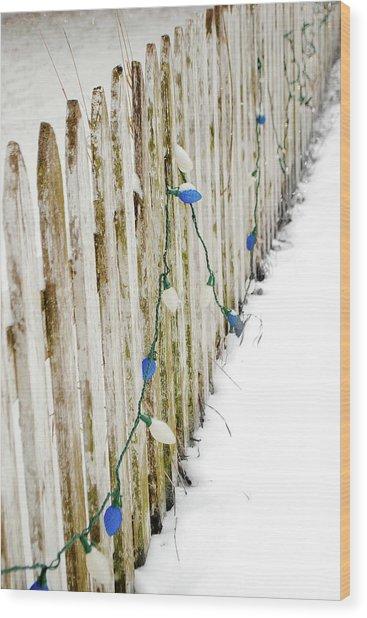 Christmas Fence Wood Print