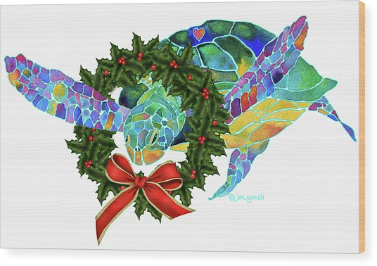 Christmas Holiday Sea Turtle Wood Print