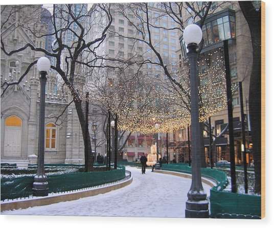 Christmas In Chicago Wood Print