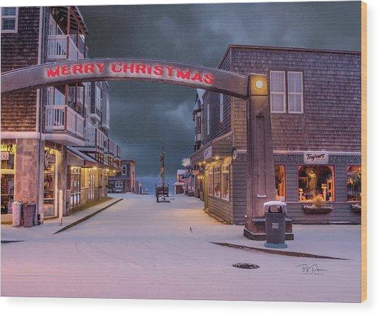 Christmas In Nye Beach Wood Print