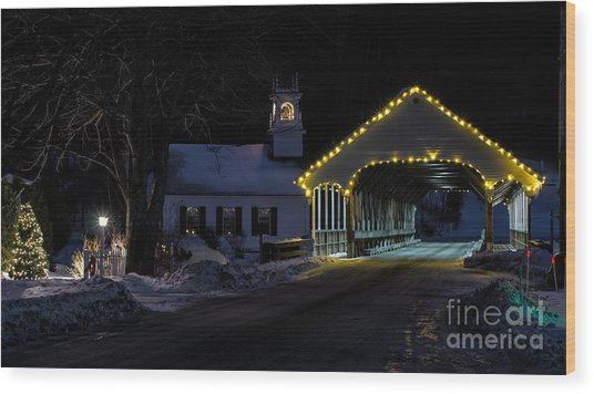 Christmas In Stark New Hampshire Wood Print