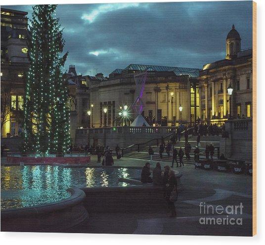 Christmas In Trafalgar Square, London 2 Wood Print