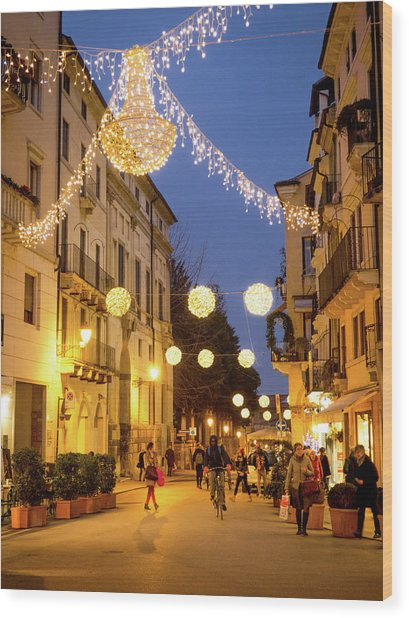 Christmas In Vicenza Italy Wood Print