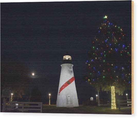 Christmas Lighthouse Wood Print