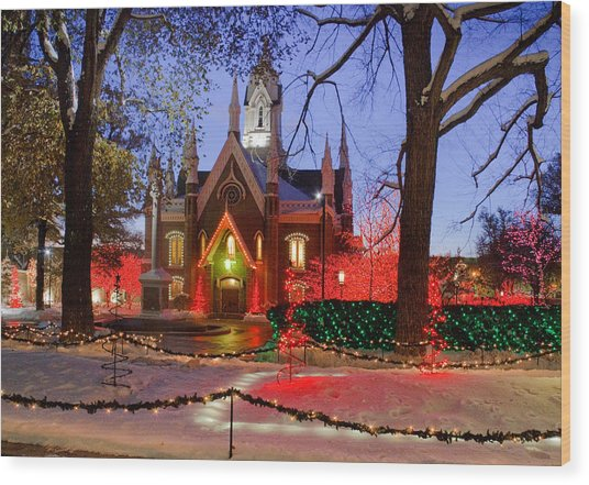 Christmas Lights At Temple Square Wood Print