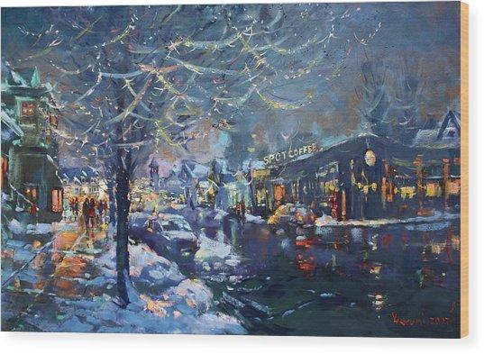 Christmas Lights In Elmwood Ave  Wood Print