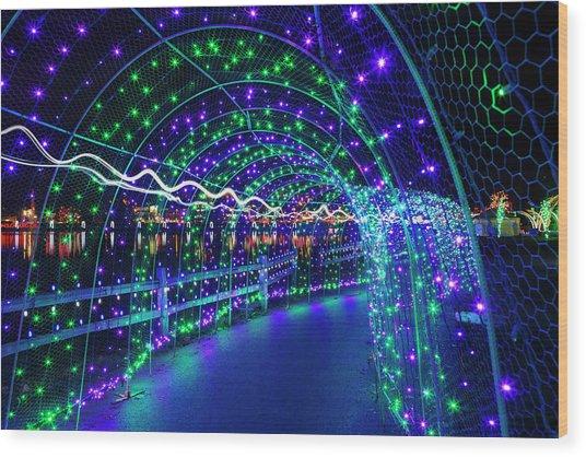 Christmas Lights In Tunnel At Lafarge Lake Wood Print