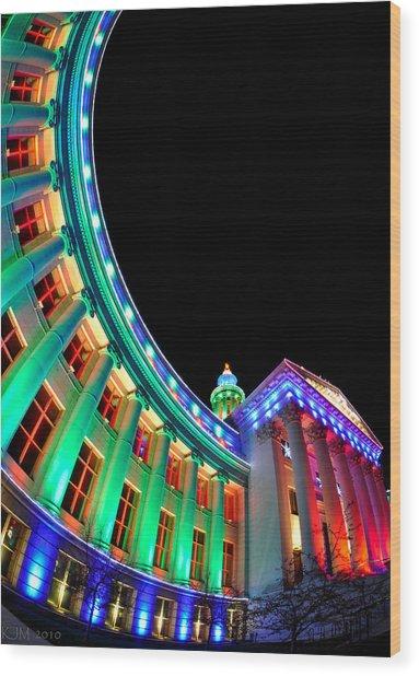 Christmas Lights Of Denver Civic Center Park Wood Print