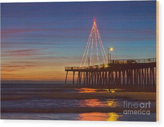 Christmas Lights On The Pismo Pier Wood Print