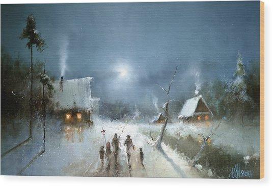 Christmas Night Wood Print