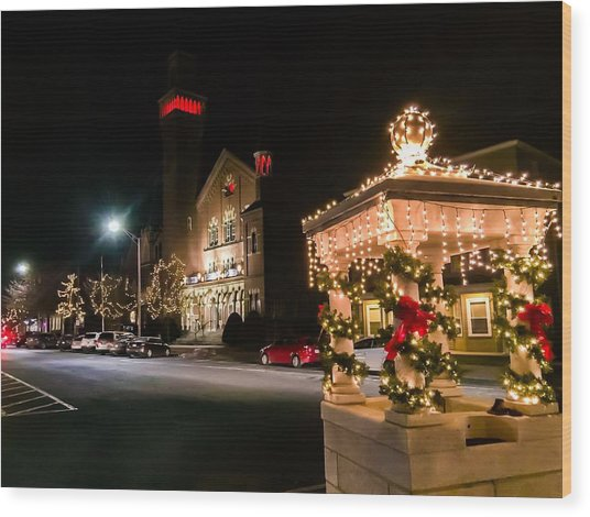Christmas On Main Street Easthampton Wood Print