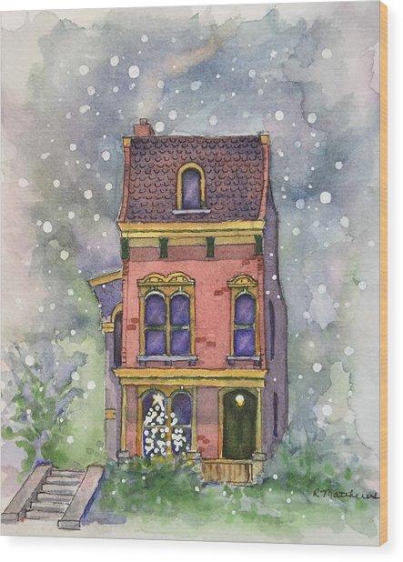 Christmas On North Hill Wood Print
