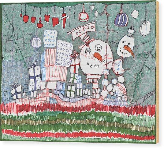 Christmas On The Edge Wood Print