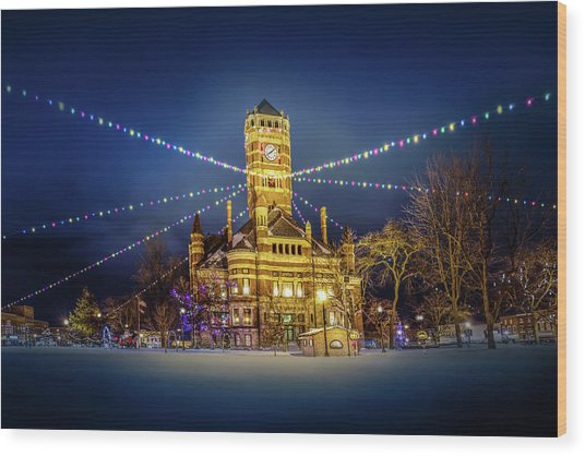 Wood Print featuring the photograph Christmas On The Square 2 by Michael Arend