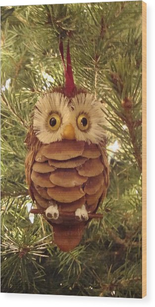Christmas Owl Wood Print by Nikita Zabowski