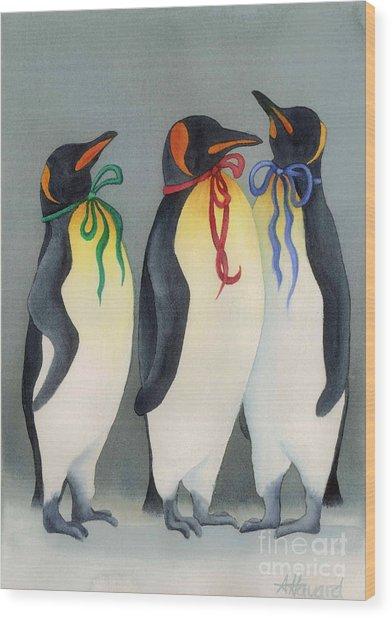 Christmas Penguinsii Wood Print