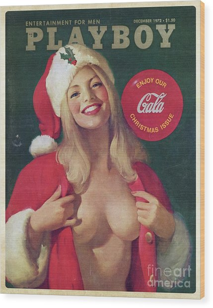Christmas Playboy Vintage Cover Wood Print