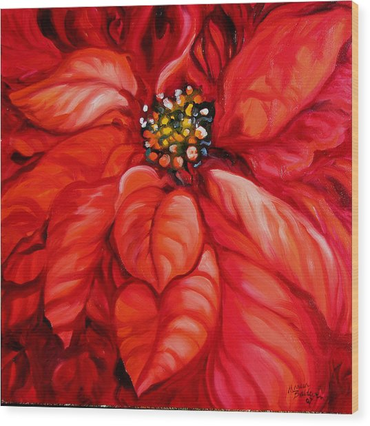 Christmas Poinsettia Wood Print by Marcia Baldwin