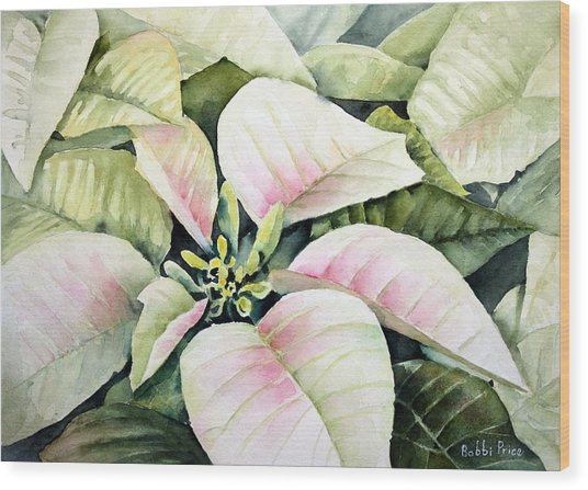 Christmas Poinsettias Wood Print by Bobbi Price
