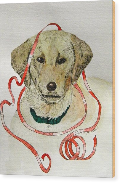 Christmas Puppy Wood Print by Terry Honstead