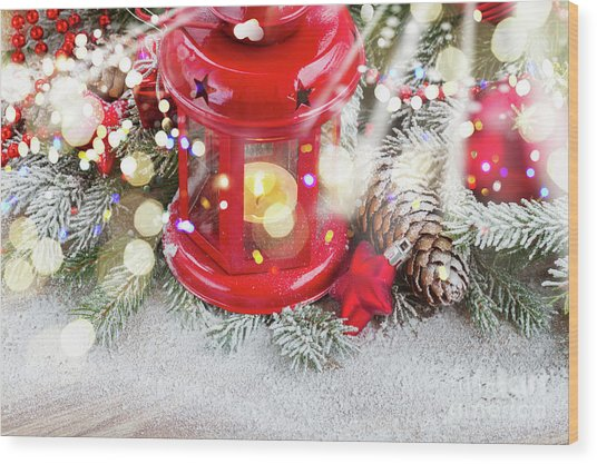 Christmas Red Lantern  Wood Print