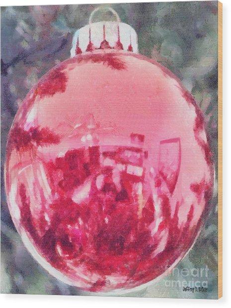 Christmas Reflected Wood Print