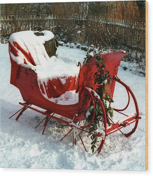 Christmas Sleigh Wood Print