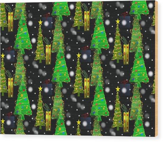 Christmas Snow Fall - Pattern Wood Print