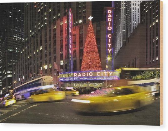 Christmas Times In Nyc Wood Print