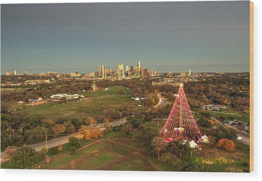 Christmas Tree In Austin Wood Print