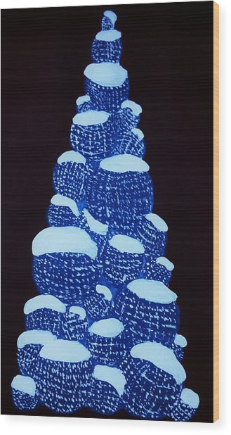 Christmas Tree Light Up Wood Print by Nicole  Cris