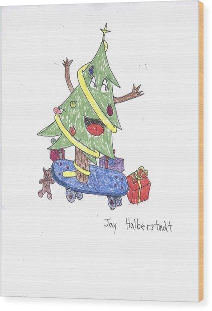 Christmas Tree On Skateboard Wood Print