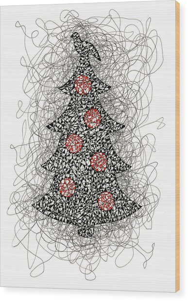 Christmas Tree Pen And Ink Drawing Wood Print