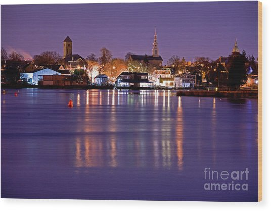 Christmas Waterfront Wood Print by Butch Lombardi