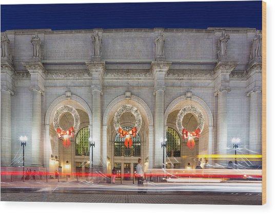 Christmastime At Union Station Wood Print by Robert Davis