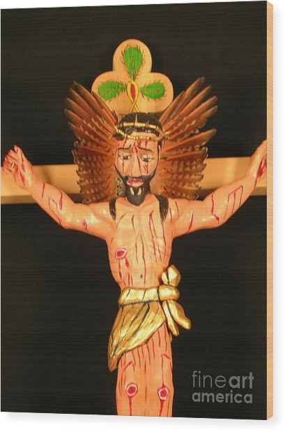 Christo Crucificado Wood Print by George Chacon