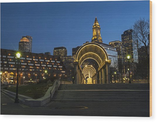 Christopher Columbus Park Boston Ma Trellis Custom House Wood Print