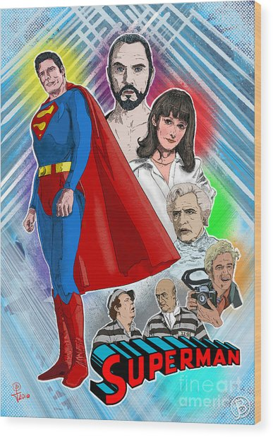 Christopher Reeve's Superman Wood Print by Joseph Burke