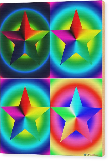 Chromatic Star Quartet With Ring Gradients Wood Print