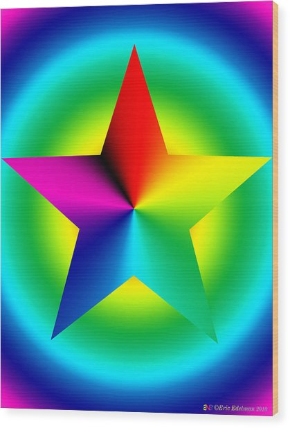 Chromatic Star With Ring Gradient Wood Print