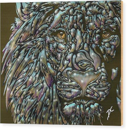 Chrome Lion Wood Print