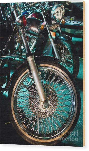 Chrome Rim And Front Fork Of Vintage Style Motorcycle Wood Print