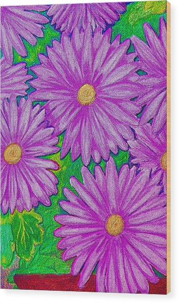 Chrysanthemums Pink Wood Print by Adrienne Talbot