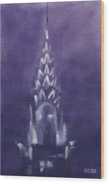 Chrysler Building Violet Night Sky Wood Print