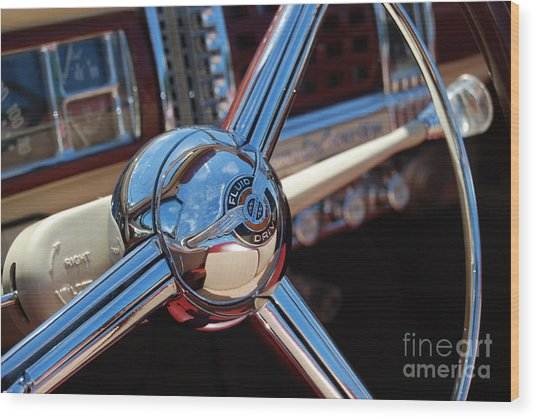 Chrysler Town And Country Steering Wheel Wood Print by Larry Keahey