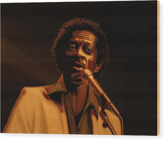 Chuck Berry Gold Wood Print