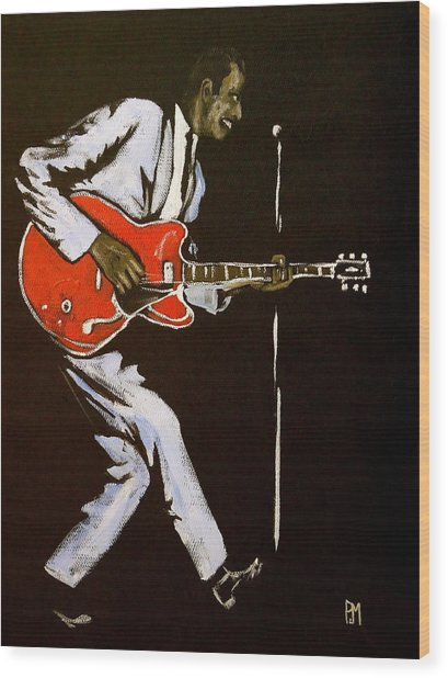 Chuck Berry Wood Print by Pete Maier