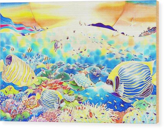 Wood Print featuring the painting Churaumi Kerama by Hisayo Ohta